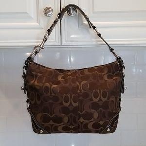Coach Brown Optic Carly Hobo Shoulder Bag